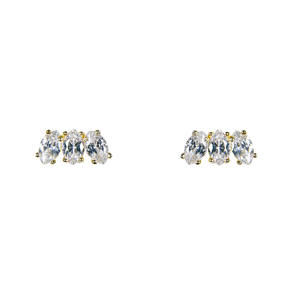 Triple Crystal Studs | Large Marquise - King + Curated
