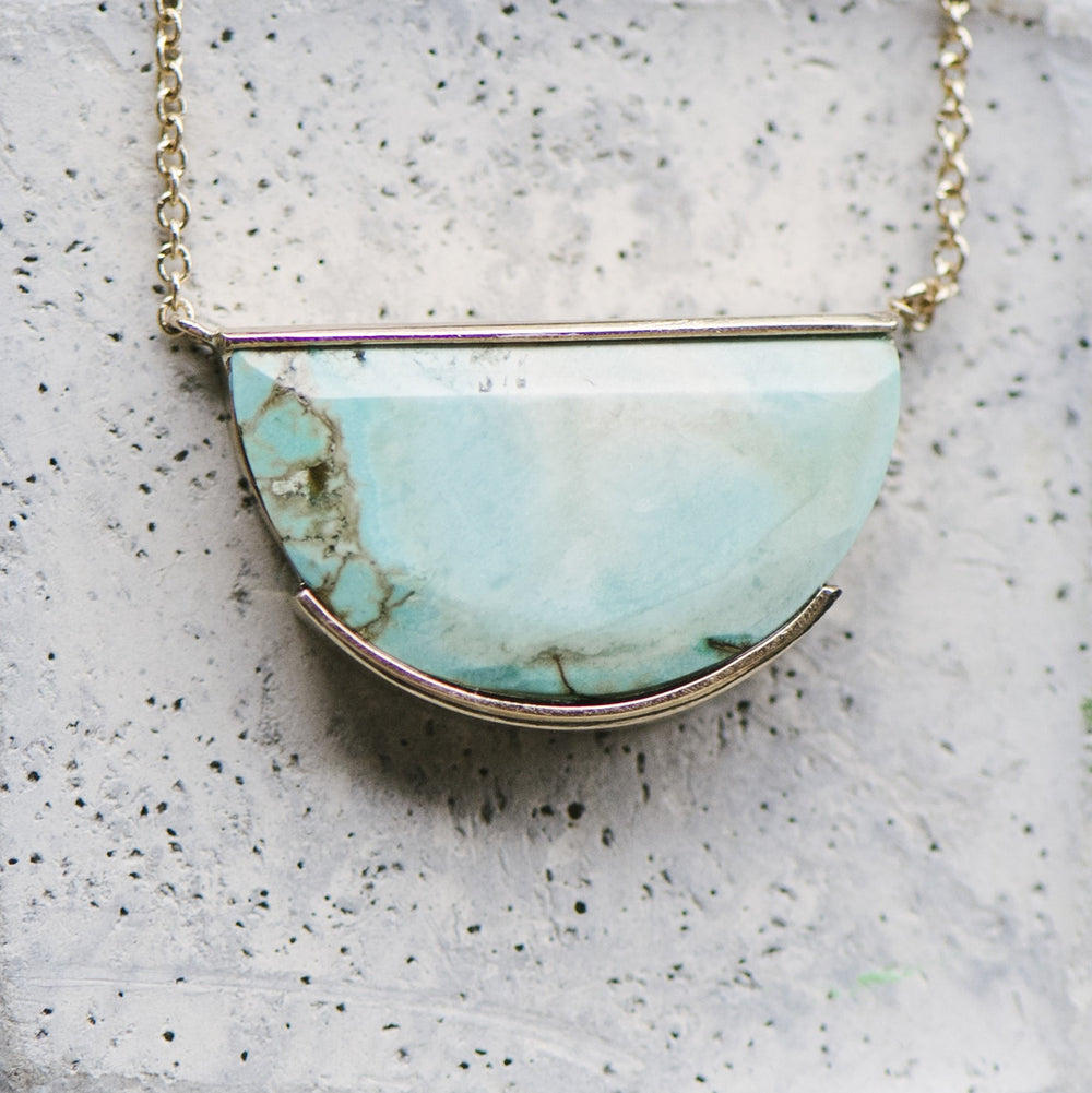 Half Circle, Genuine Turquoise Necklace - King + Curated