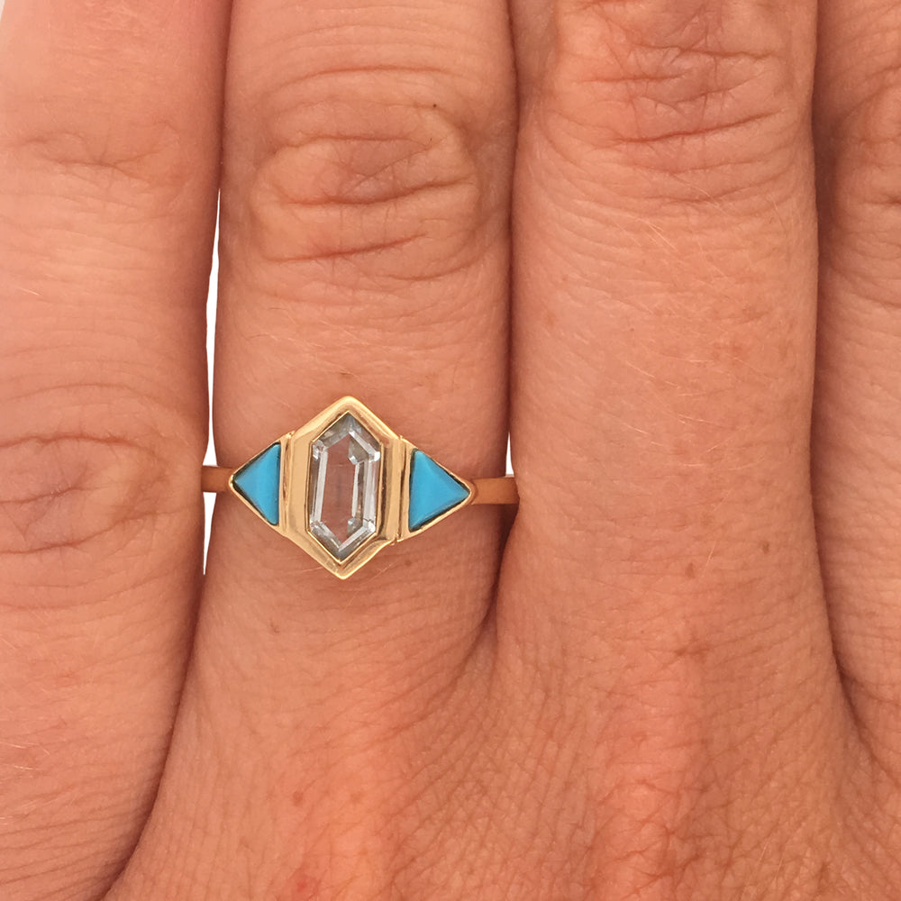 Turquoise And Aquamarine Ring - The Curated Gift Shop