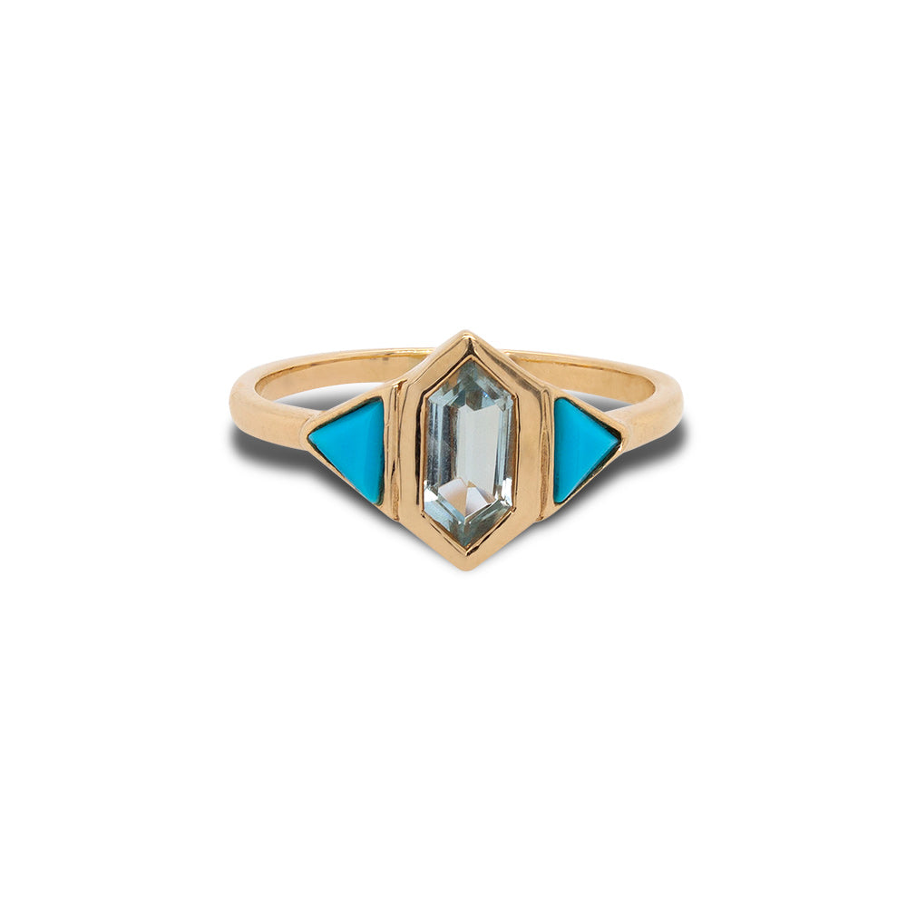 Front view of custom cut turquoise and aquamarine ring set in 14 kt yellow gold.