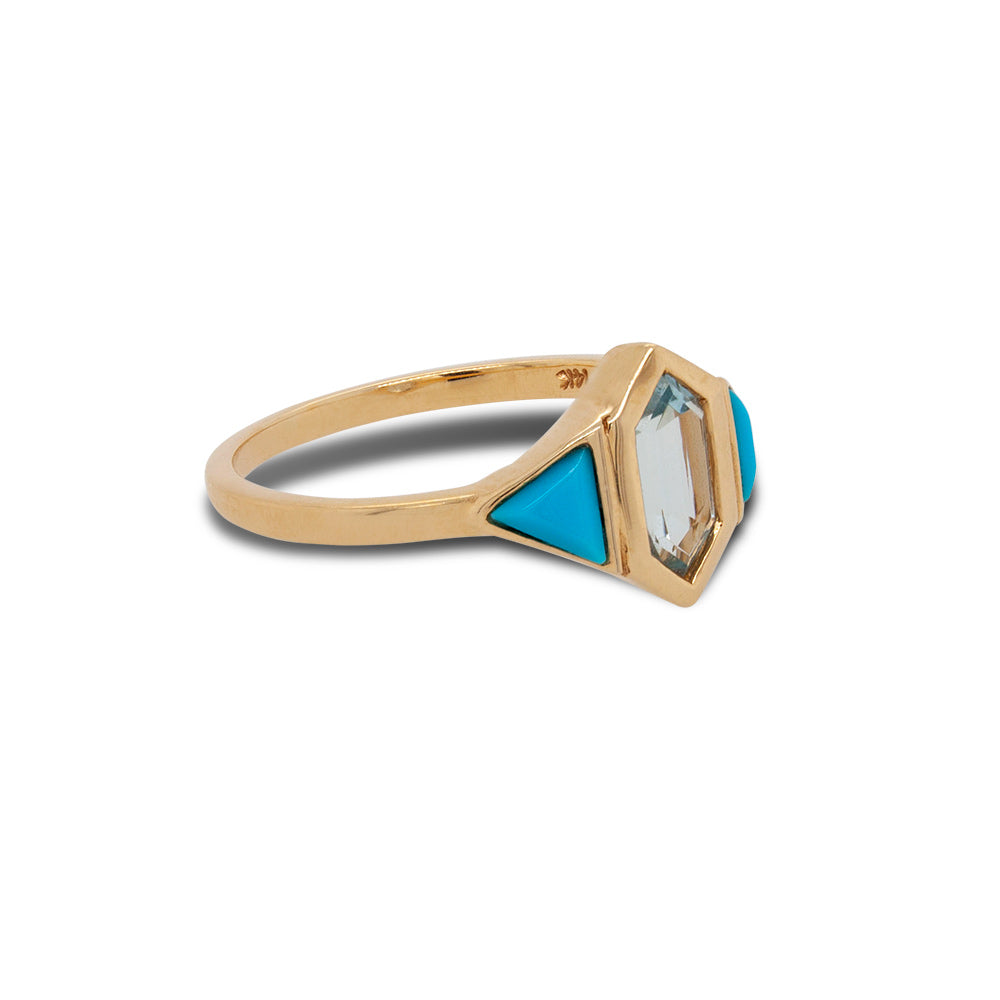 Right side view of custom cut turquoise and aquamarine ring set in 14 kt yellow gold.