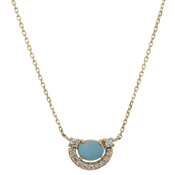 Front view of a 14 kt yellow gold pendant necklace with a center, cabochon cut turquoise surrounded by over 0.25 tcw of diamonds.