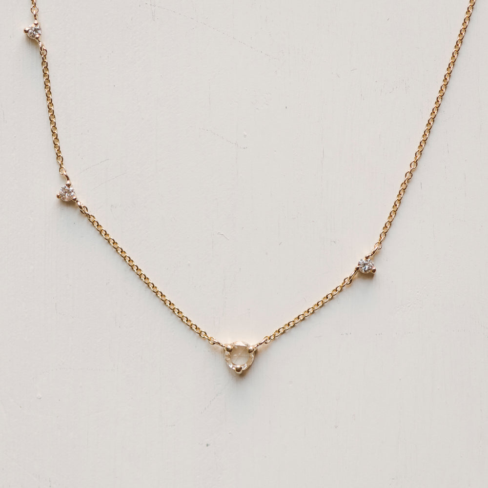 Asymmetrical Rose Cut Diamond Necklace - The Curated Gift Shop