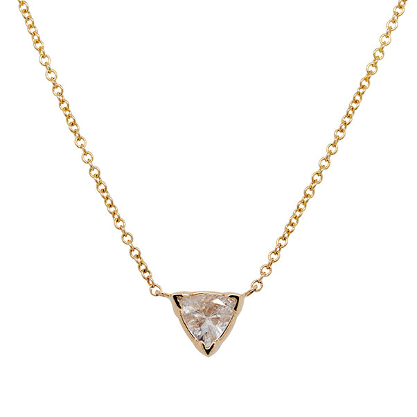 Front view of a trillion cut white sapphire pendant necklace cast in 14 kt yellow gold.