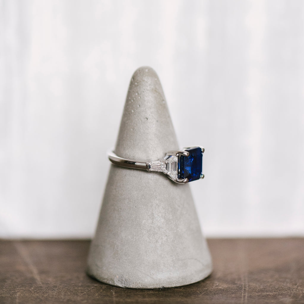Blue Sapphire And Diamond Ring - The Curated Gift Shop