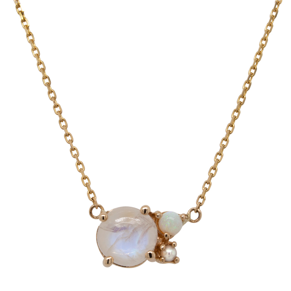 Moonstone, Opal, and Pearl Cluster Necklace - The Curated Gift Shop