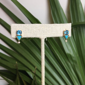 Load image into Gallery viewer, Aquamarine And Turquoise Diamond Earrings - The Curated Gift Shop