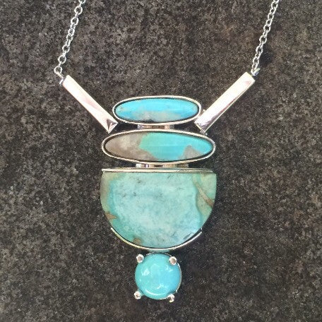 Stacked Turquoise Double Bar Necklace
