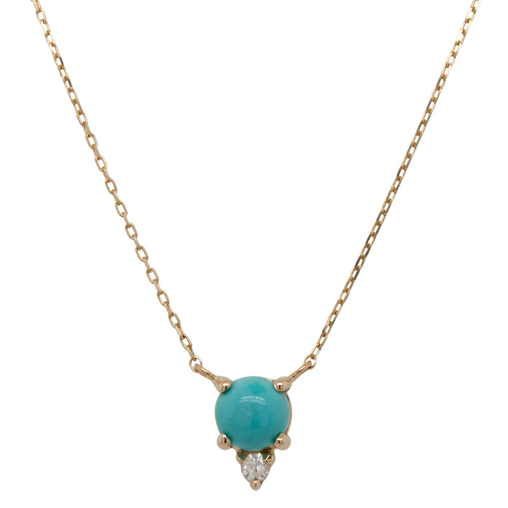 Cabochon Turquoise And Diamond Necklace - King + Curated