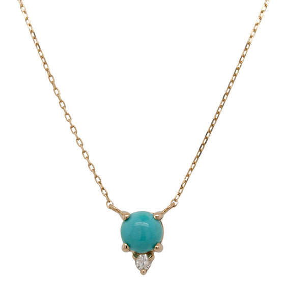 Cabochon Turquoise And Diamond Necklace