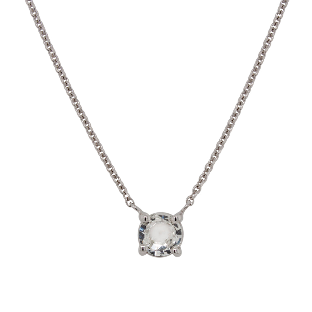 White Sapphire Necklace | Round, Rose Cut - The Curated Gift Shop