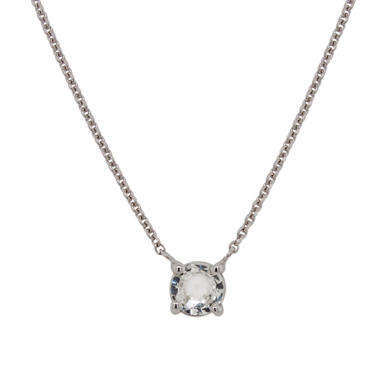White Sapphire Necklace | Round, Rose Cut