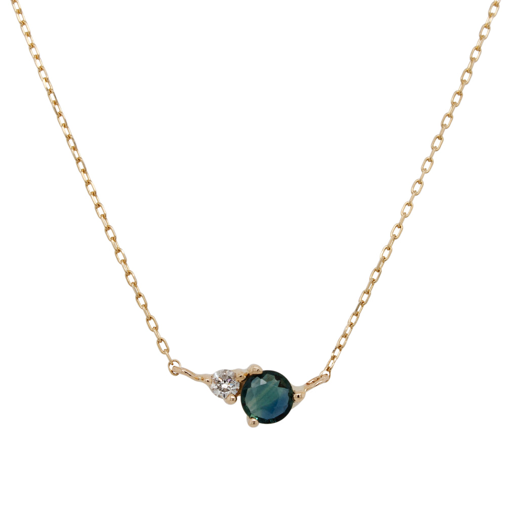 Blue-green Sapphire And Diamond Necklace - King + Curated