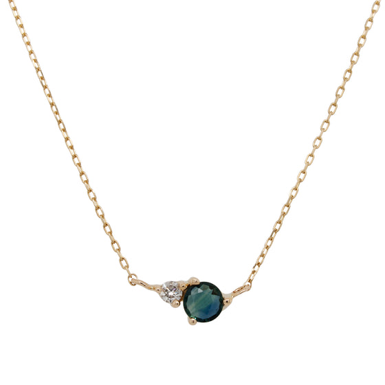 Blue-Green Sapphire And Diamond Necklace - The Curated Gift Shop