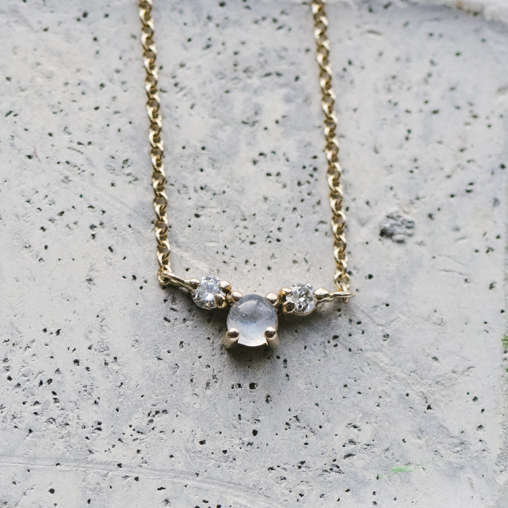 Custom Stone And Double Diamond Necklace - The Curated Gift Shop