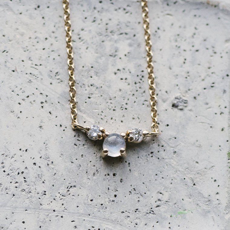 Custom Stone And Double Diamond Necklace