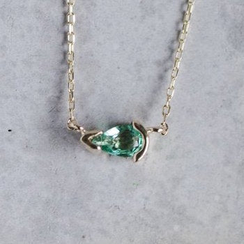 Pear Shaped, Green Emerald Necklace