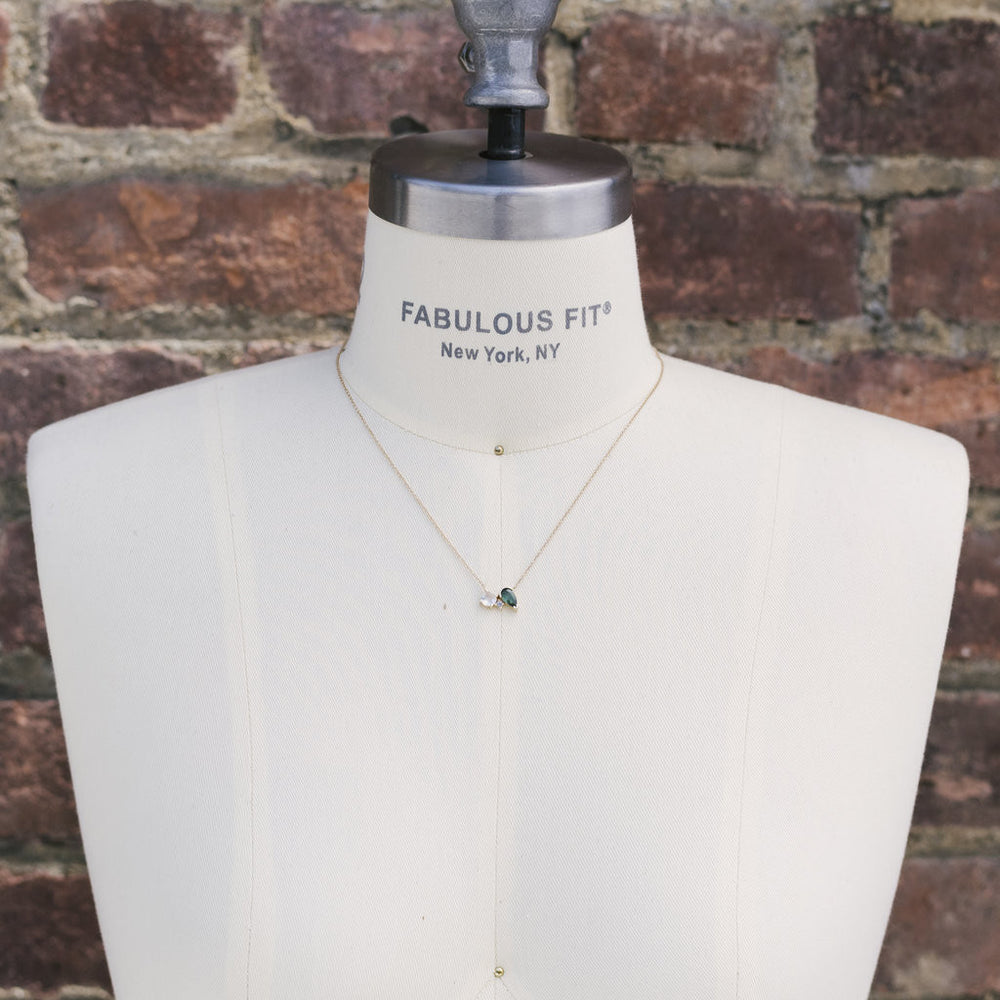 Load image into Gallery viewer, Asymmetrical Moonstone, Tourmaline And Diamond Necklace - The Curated Gift Shop