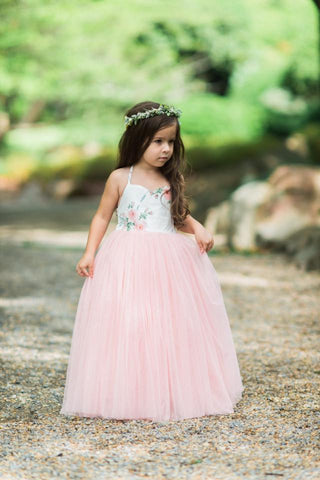 Dollcake Helene girl's dress with floral print bodice and pink tulle full skirt. Photographed by Lane Wiechman