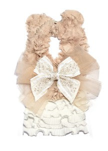 Modern Queen Kids Grande Kingdom Collar in Ivory and White with layers of white, vintage, ruffled trim detail for rent from The Borrowed Boutique.