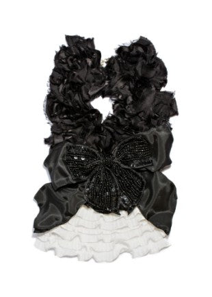 Modern Queen Kids Grande Kingdom Collar in black with layers of black, vintage, ruffled trim detail for rent from The Borrowed Boutique.