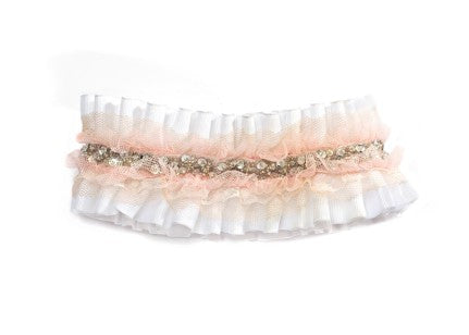 Modern Queen Kids Ice Castle Collar In White And Blush with white grosgrain pleated ruffles and delicate, blush tulle trim.