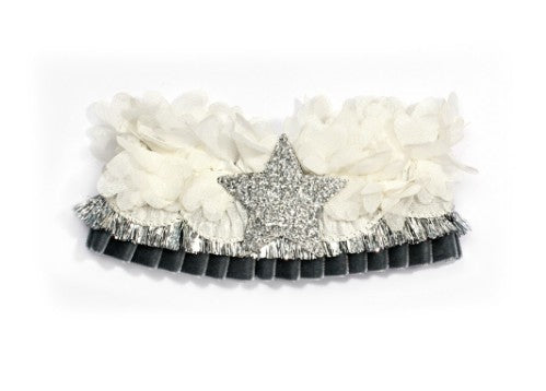 Modern Queen Kids Starry Night Collar In Grey with shimmering sparkle fringe.