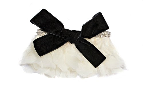 Modern Queen Kids Flights of Fancy girl's collar In ivory with a luxe sparkling beaded trim and a velvet bow.