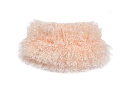 Beautiful Modern Queen Kids Noble Dreams Collar in blush pink with fluffy layers of soft, vintage tulle from France.