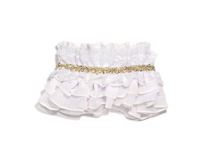 Modern Queen Kids Royal Ruffles girl's collar in white with layers of beautiful white ruffles and delicate white lace trim.