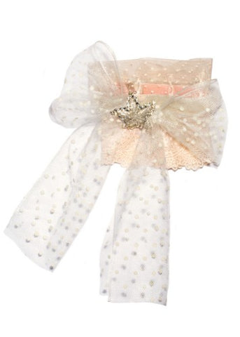 Modern Queen Kids Blushing Beauty girl's pink collar with oversized bow made of ivory polka dot tulle.