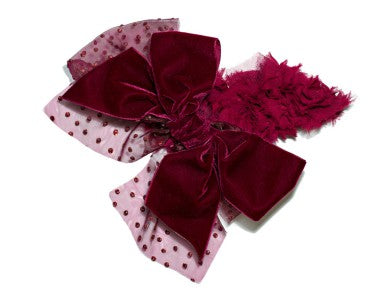 Modern Queen Kids Winter Berry Collar In Raspberry with fluffy raspberry fabric and an over-sized raspberry velvet bow with sparkling polka dot tulle bow.
