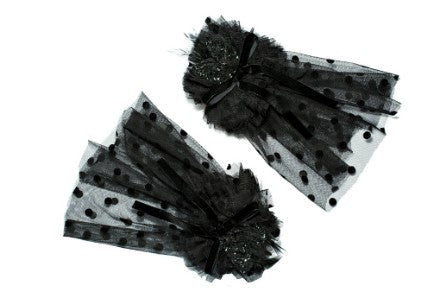 Modern Queen Kids Pretty Party girl's cuffs in black. Features fluffy layers of delicate tulle, exquisite beading detail, and fanciful velvet bow.