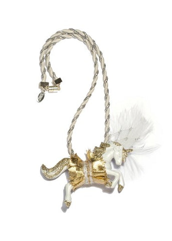 Modern Queen Kids Queen's Unicorn Necklace In White and Gold with twisted white and silver cord rope.