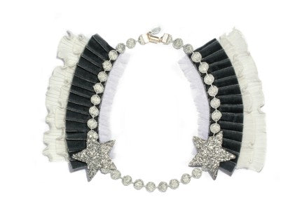Modern Queen Kids Knighted Star girl's grey necklace with glittering silver stars and lush, velvet pleated trim.