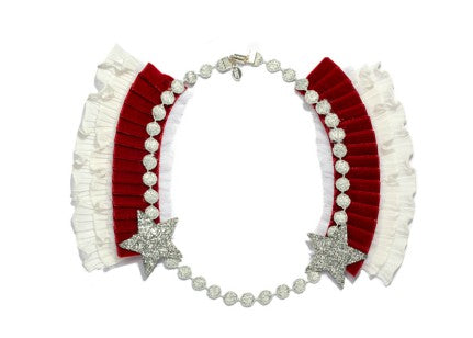 Modern Queen Kids Knighted Star girl's red necklace with glittering silver stars and lush, velvet pleated trim.