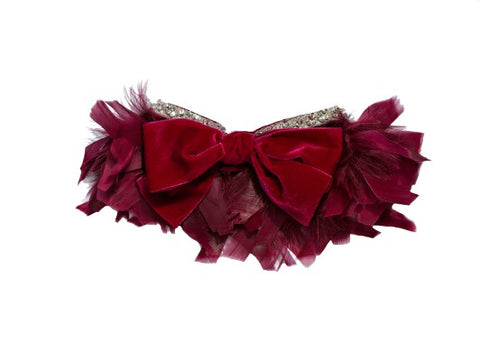 Modern Queen Kids Flights of Fancy Collar In Raspberry with a luxe sparkling beaded trim and a velvet bow.