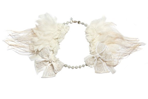 Modern Queen Kids Winter's Snow girl's Necklace In Ivory with layers of ivory feathers and ruffled trim.