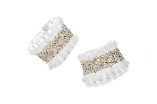 Modern Queen Kids Queen's Jewels girl's cuffs in white with white pleated grosgrain ruffles and white tulle.