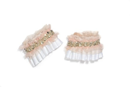 Modern Queen Kids Ice Castle girl's cuff in white and blush with white grosgrain pleated cuffs and delicate, blush tulle trim.