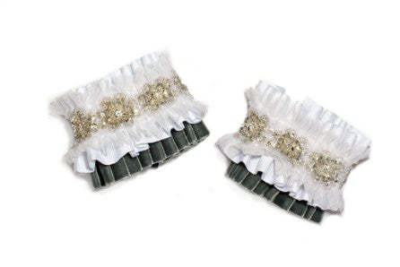 Modern Queen Kids Crown Jewels girl's cuffs in grey with white pleated ruffles, white tulle detail, and exquisite beading.