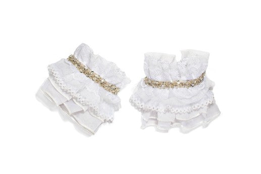 Modern Queen Kids Royal Ruffles girl's cuffs in white with layers of beautiful white ruffles and delicate, white lace trim.