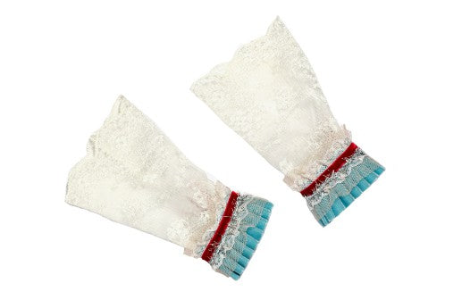 Modern Queen Kids Lovely Lace girl's cuffs in red and blue with ivory lace and velvet pleats.