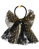 Modern Queen Kids Grande Party Bow Necklace In Black and Gold with soft twisted cable rope and an over-sized fanciful bow made from black and gold tulle.