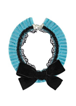 Modern Queen Kids Majestic Stage girl's blue necklace with velvet pleats and beaded lace trim.