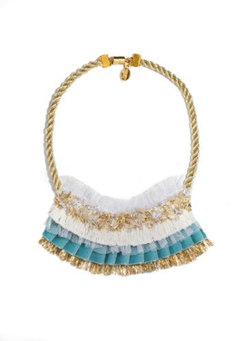 Modern Queen Kids Winter's Night Necklace In Blue with ivory/gold twisted rope and vintage gold metallic fringe.