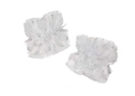 Modern Queen Kids Noble Dreams girl's cuffs in white and silver with soft, vintage tulle and polka dot detail.