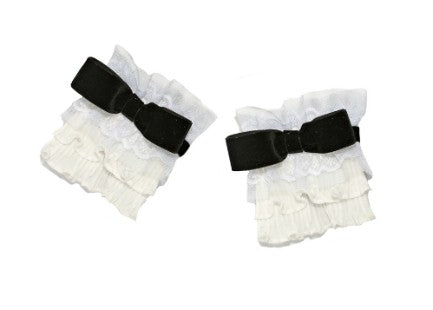 Modern Queen Kids Moonlight Hour girl's cuffs in black and white with ivory pleated ruffles and vintage white lace and trim.