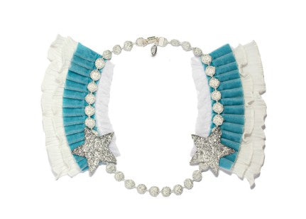 Modern Queen Kids Knighted Star girl's blue necklace with glittering silver stars and lush, velvet pleated trim.
