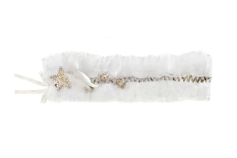 Modern Queen Kids Queen For a Day girl's sash in white with layered tulle and stunning beading details.